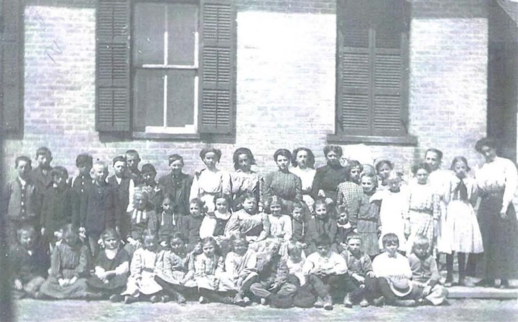 Outside Kunesh School, early 20th century